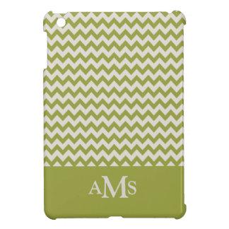 Green Chevron Stripe 3  Monogram iPad Mini Covers