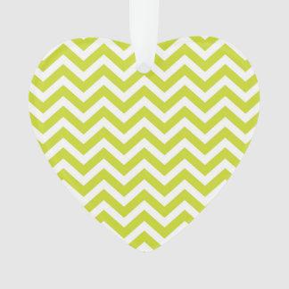 Green Chevron Stripe Pattern Ornament