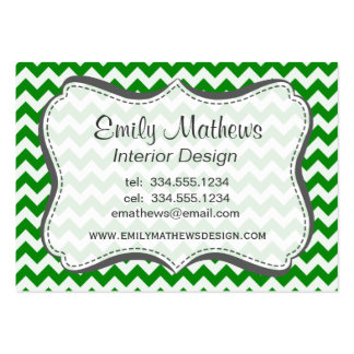 Green Chevron Stripes Large Business Cards (Pack Of 100)