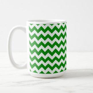 Green Chevron Stripes Coffee Mug