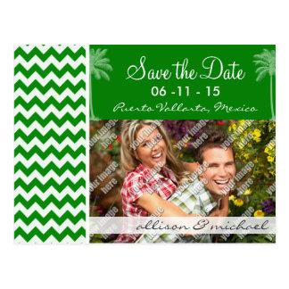 Green Chevron Stripes; Summer Palm Post Card