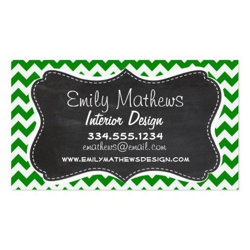 Green Chevron Stripes; Vintage Chalkboard Business Cards