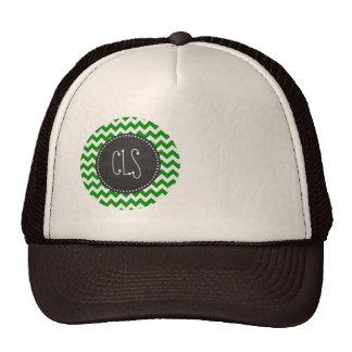 Green Chevron Stripes; Vintage Chalkboard Trucker Hat