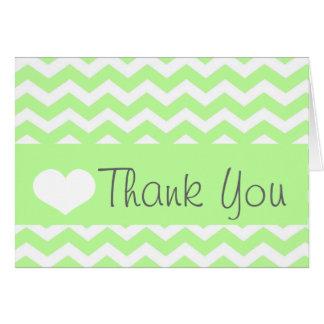 Green Chevron Thank You Note Card