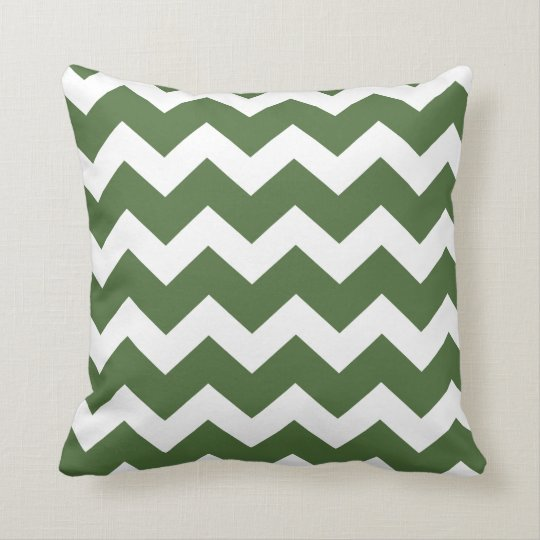 Green Chevron Throw Pillow