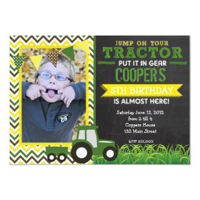 Green Chevron Tractor Birthday Party Invitation 5
