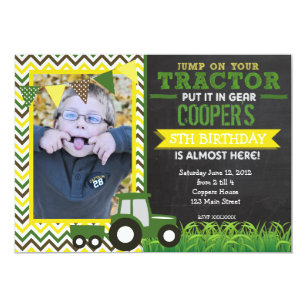 Tractor birthday invitations announcements zazzle green chevron tractor birthday party invitation filmwisefo Choice Image