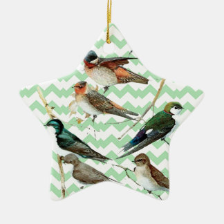 Green Chevron vintage water, birds, Ceramic Ornament