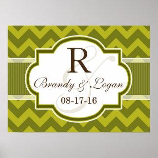 Green Chevron Wedding Poster