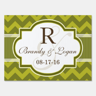 Green Chevron Wedding Sign