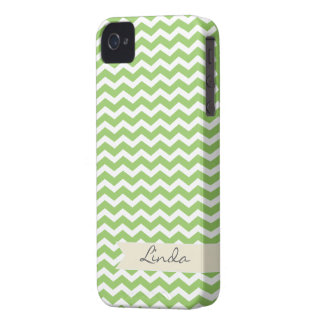 Green Chevron with beige personalized label iPhone 4 Cases