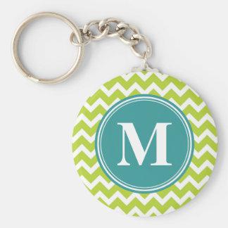 Green Chevron with Custom Monogram Basic Round Button Keychain