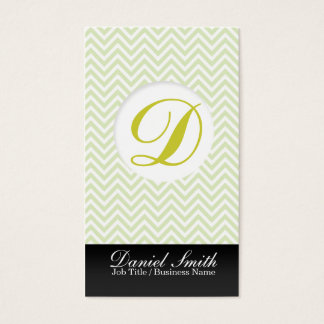 Green chevron with Initial to letter Business Card