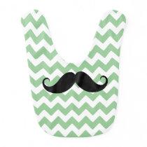 Green Chevron Zigzag Mustache Baby Bib