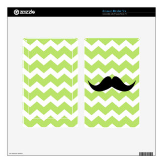 Green chevron zigzag pattern cute black mustache kindle fire skin