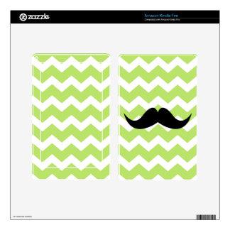 Green chevron zigzag pattern cute black mustache kindle fire skin
