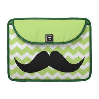 Green chevron zigzag pattern cute chic mustache sleeve for MacBooks