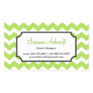 Green chevron zigzag pattern stylish personal Double-Sided standard business cards (Pack of 100)