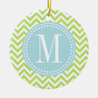 Green Chevron Zigzag Personalized Monogram Ceramic Ornament