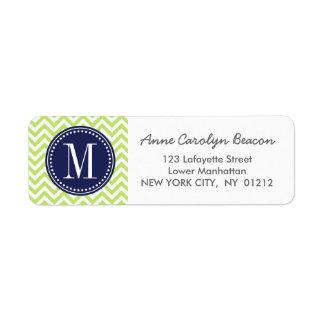 Green Chevron Zigzag Personalized Monogram Label