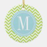 Green Chevron Zigzag Personalized Monogram Christmas Tree Ornaments