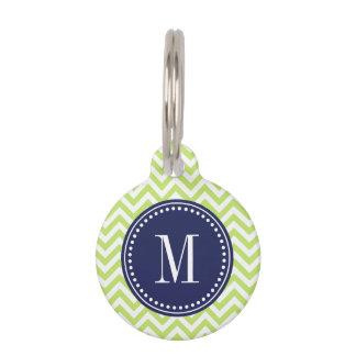 Green Chevron Zigzag Personalized Monogram Pet ID Tag