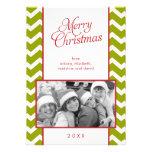 Green Chevrons Pattern Christmas Photo Custom Invite