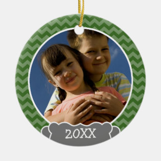 Green chevrons photo frame with year christmas ornaments