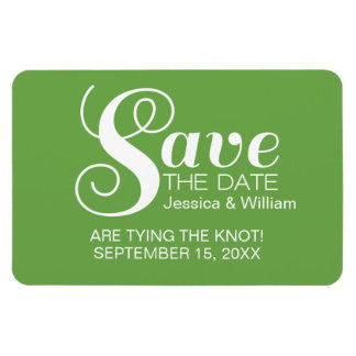 Green Chic Typography Save the Date Magnet