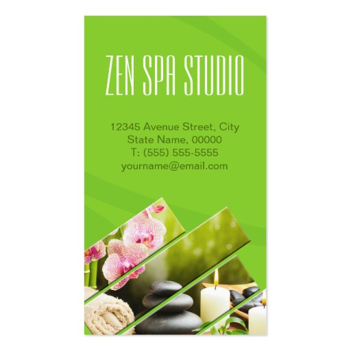 Green Chic Zen Spa Wellness Massage Therapist Business Cards (back side)