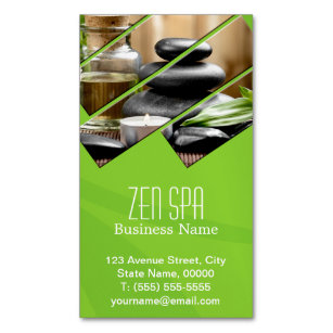 Zen business cards zazzle green chic zen spa wellness massage therapist magnetic business card colourmoves