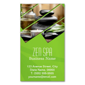Green Chic Zen Spa Wellness Massage Therapist Magnetic Business Card