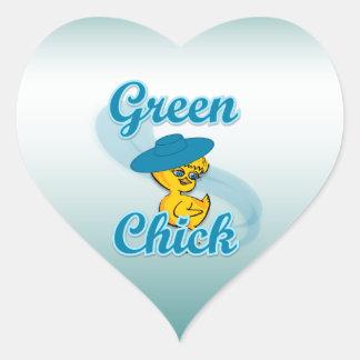 Green Chick #3 Heart Sticker