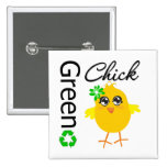 Green Chick Pinback Buttons