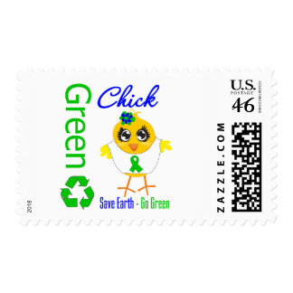 Green Chick Save Earth Go Green Postage Stamps