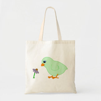 Green Chick with Purple Coneflower Budget Tote Bag