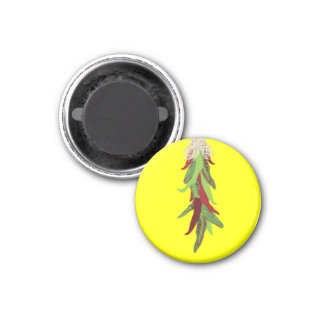 green chile peppers 1 inch round magnet