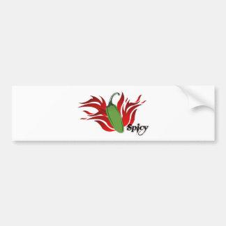Green Chili Pepper Design Bumper Sticker