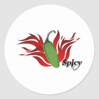 Green Chili Pepper Design Classic Round Sticker