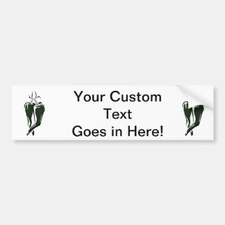Green chili pepper two dancing abstract bumper stickers