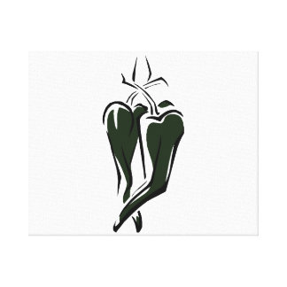 Green chili pepper two dancing abstract canvas print