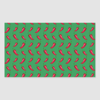 green chili peppers pattern rectangular stickers