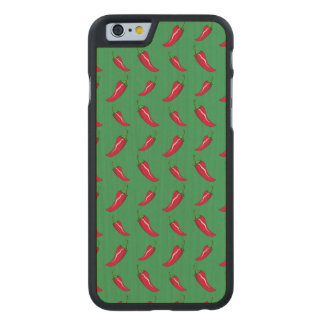Green chili peppers pattern carved® maple iPhone 6 case
