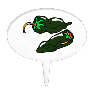 Green chilis two peppers loose cake topper