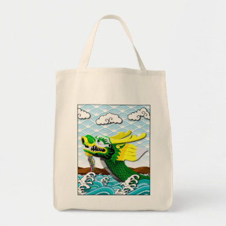 Green Chinese Dragon - Grocery Tote Bag