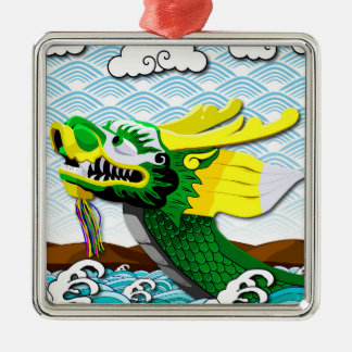 Green Chinese Dragon - Premium Square Ornament