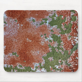 Green Chipping Paint Rusted Metal Pattern Mouse Pad