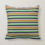 [ Thumbnail: Green, Chocolate, Lavender, Midnight Blue & Black Throw Pillow ]