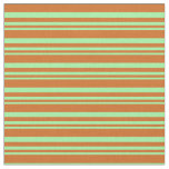 [ Thumbnail: Green & Chocolate Lines/Stripes Pattern Fabric ]