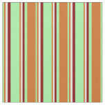 [ Thumbnail: Green, Chocolate, White & Maroon Lines Fabric ]
